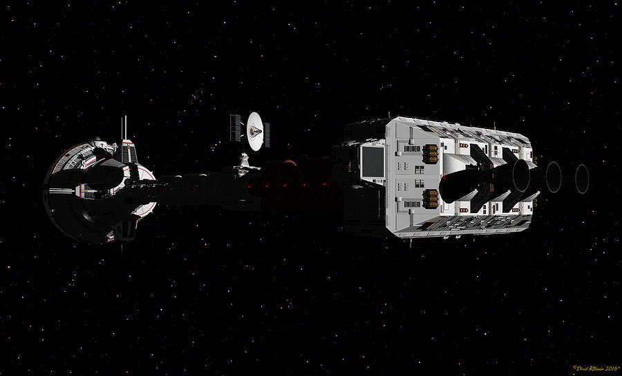 Spaceship USS Cumberland traveling through deep space by David Robinson
