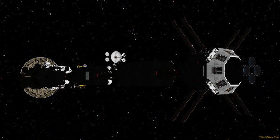 Spaceship USS Savannah in deep space by David Robinson