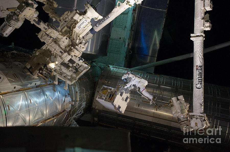 Science Photograph - Spacewalk On Iss by NASA/Science Source