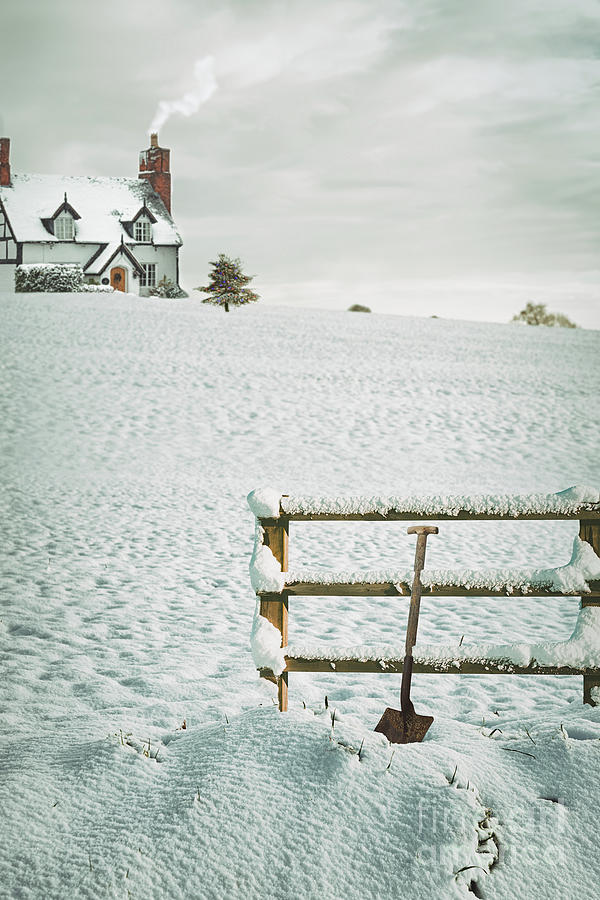 Snow Photograph - Spade Leaning Against Fence In The Snow by Amanda Elwell