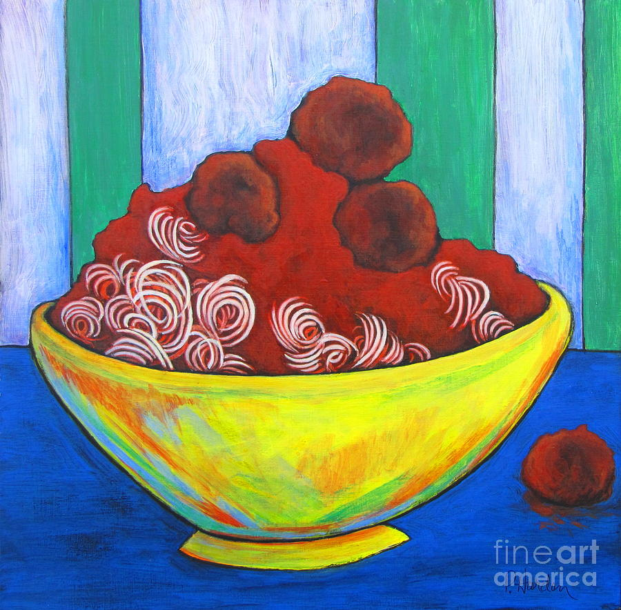 Spaghetti And Meatballs Painting by Pamela Iris Harden
