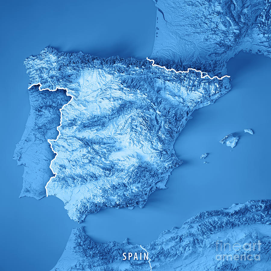 Topographical Map Of Spain.Spain Country 3d Render Topographic Map Blue Border By Frank Ramspott