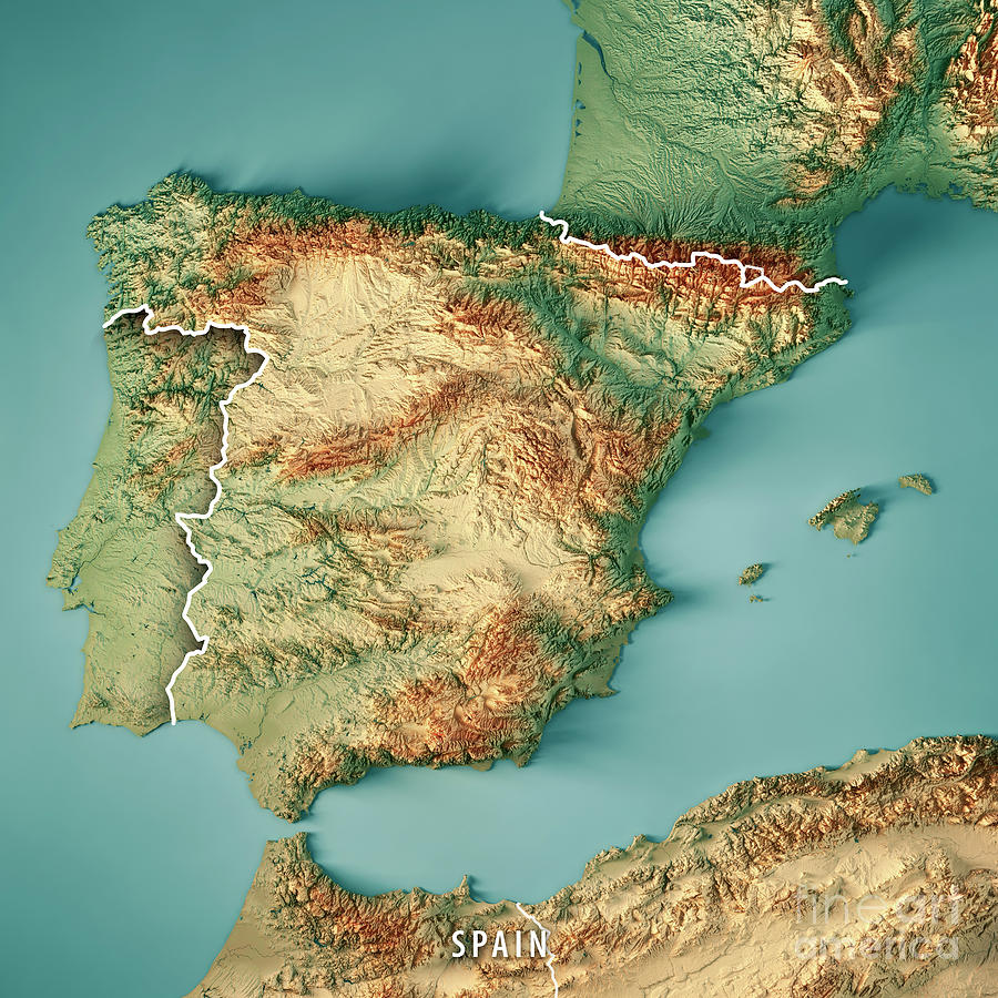 3d Map Of Spain.Spain Country 3d Render Topographic Map Border