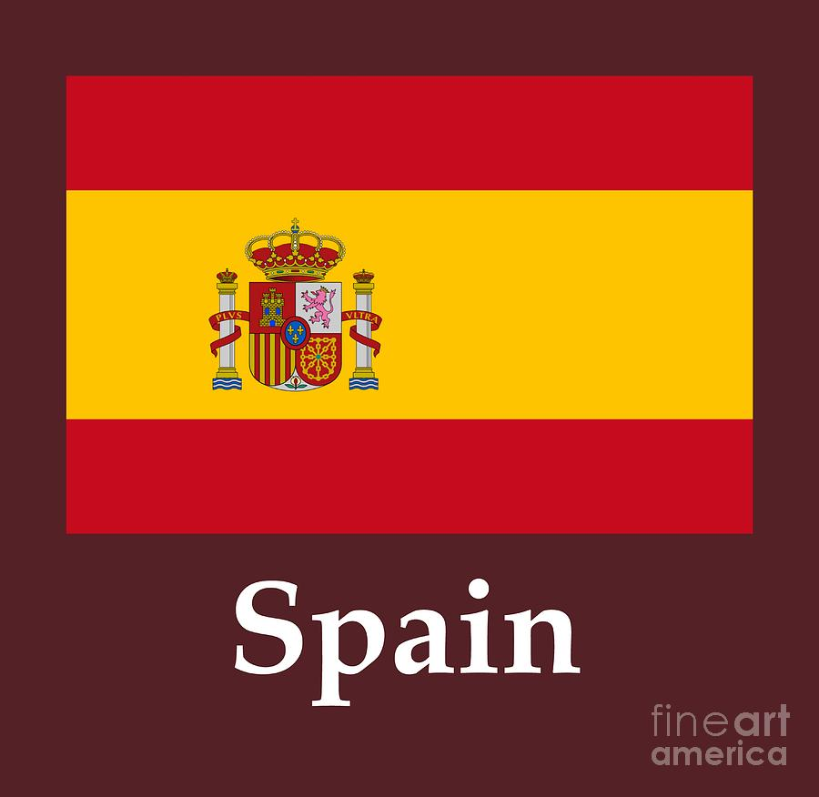 Spain Flag And Name Digital Art By Frederick Holiday