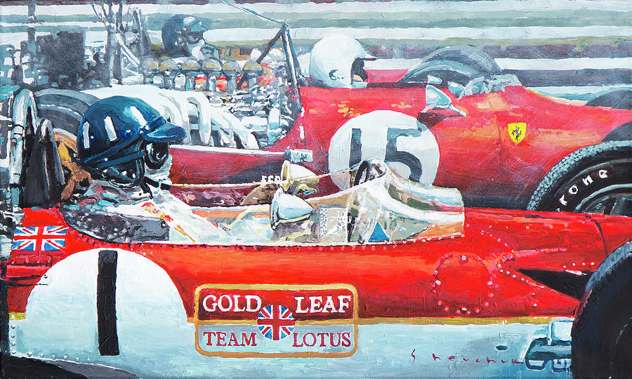 Acrilic Painting - Spain Gp 1969  Lotus 49 Hill  Ferrari 312 Amon  Lotus 49b Rindt  by Yuriy Shevchuk