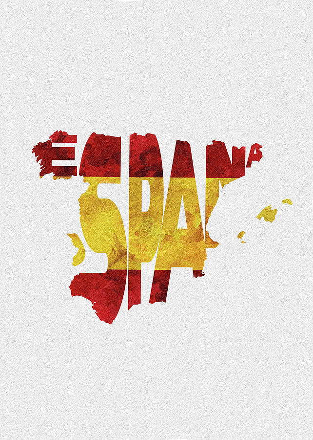 Spain Digital Art - Spain Typographic Map Flag by Inspirowl Design
