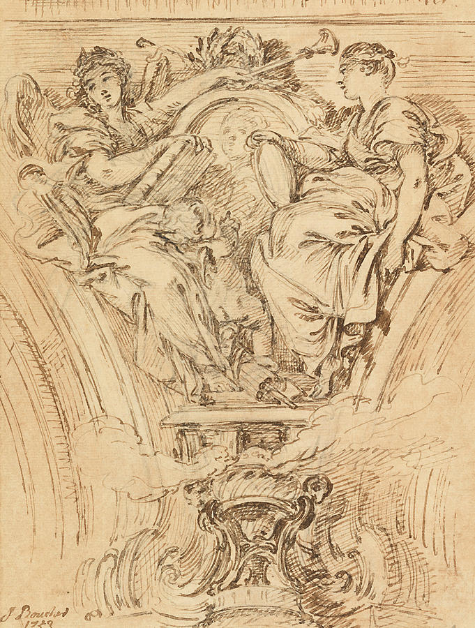 French Artist Drawing - Spandrel Decoration - Fame And Truth Applauding Louis Xv by Francois Boucher