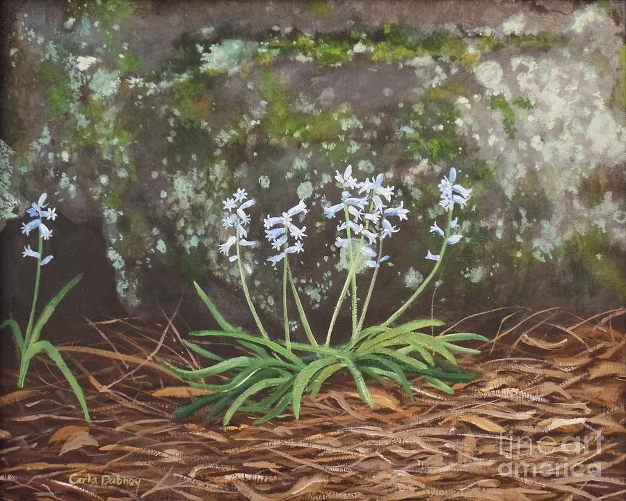 Moss Painting - Spanish Bluebells by Carla Dabney