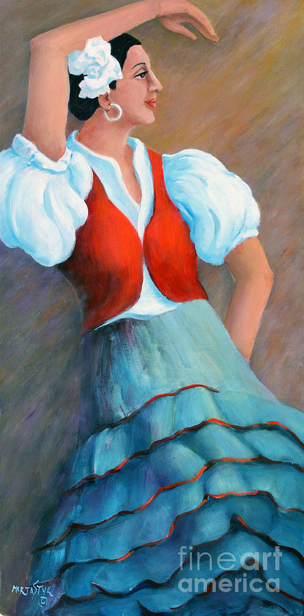 Dancing Girl Painting - Spanish Dancer 1 by Marta Styk