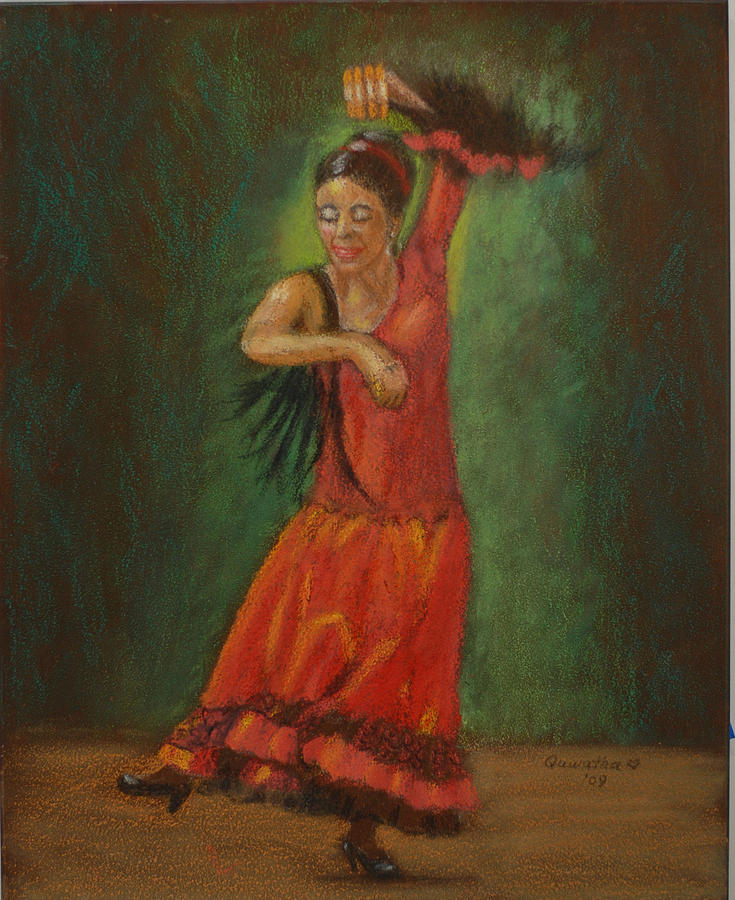 Girl Drawing - Spanish Dancer 2 by Quwatha Valentine