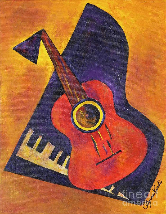 Spanish Guitar Painting By Lenore Vardi
