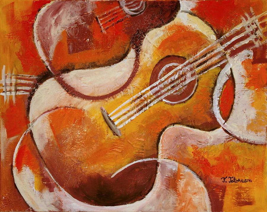 Spanish Guitar Painting By Teodora Totorean