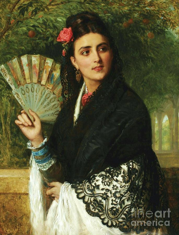 Pd Painting - Spanish Lady With Fan by Pg Reproductions