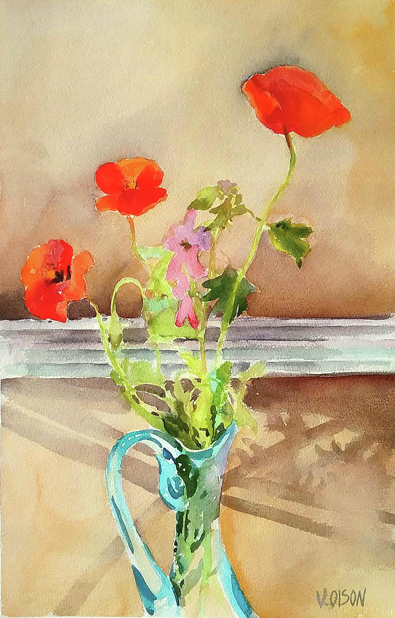 Spanish poppies in front of window 2016 painting by victoria de los watercolor painting spanish poppies in front of window 2016 by victoria de los angeles olson mightylinksfo