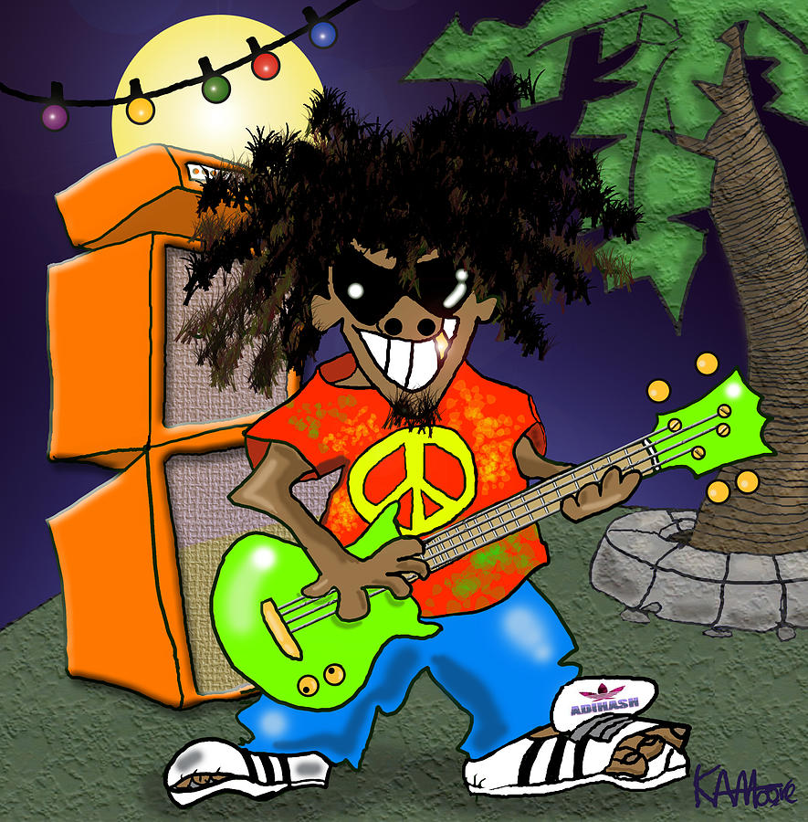 Reggae Drawing - Spank de Plank by Kev Moore