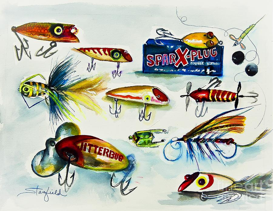Spark plug fishing lures painting by johnnie stanfield for Fishing lure paint
