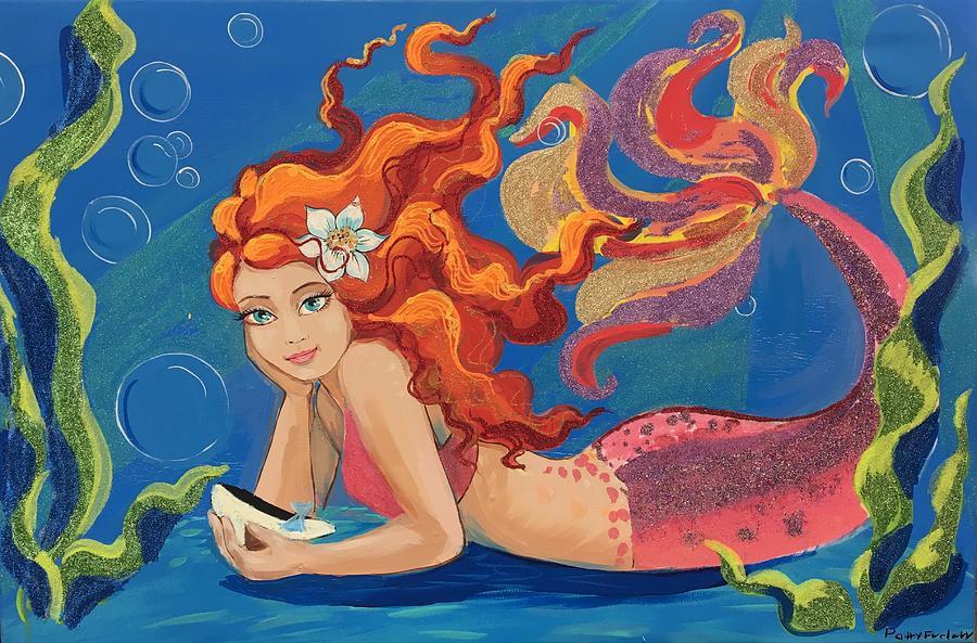 Mermaid Painting - Sparkle Mermaid by Cindy B