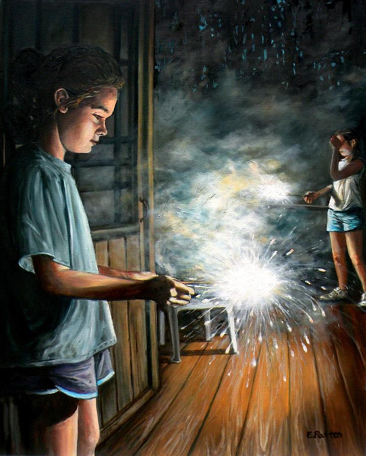 Sparklers On The Porch by Eileen Patten Oliver