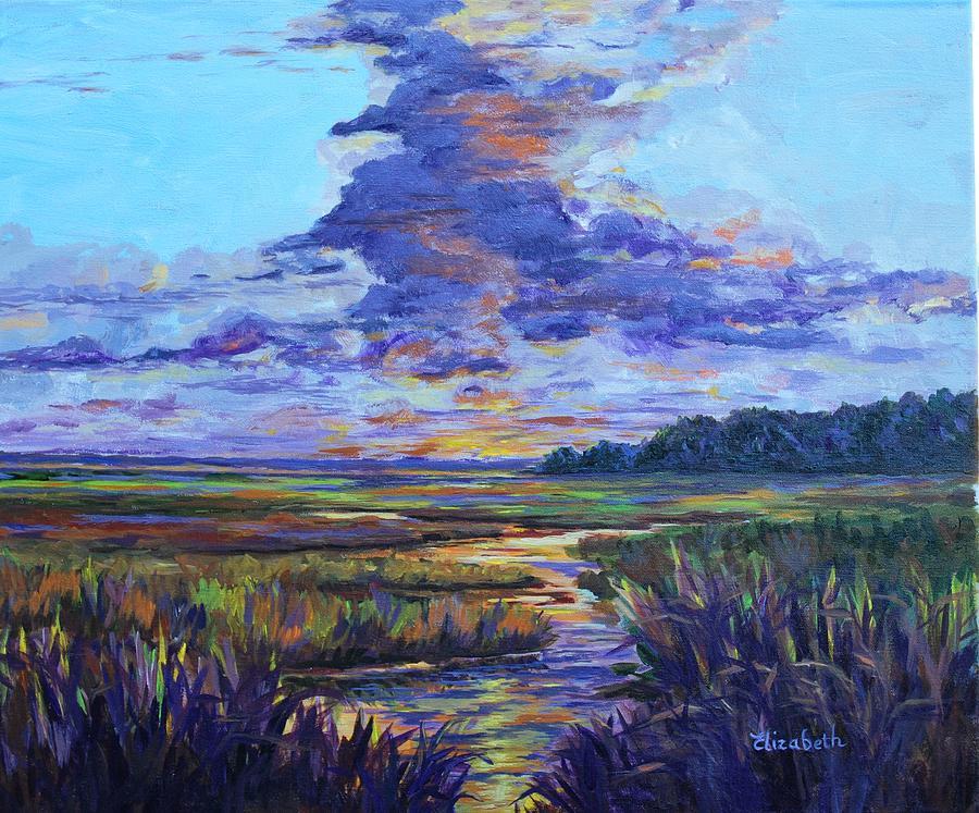 Marsh Painting - Sparkling Marsh by Beth Maddox