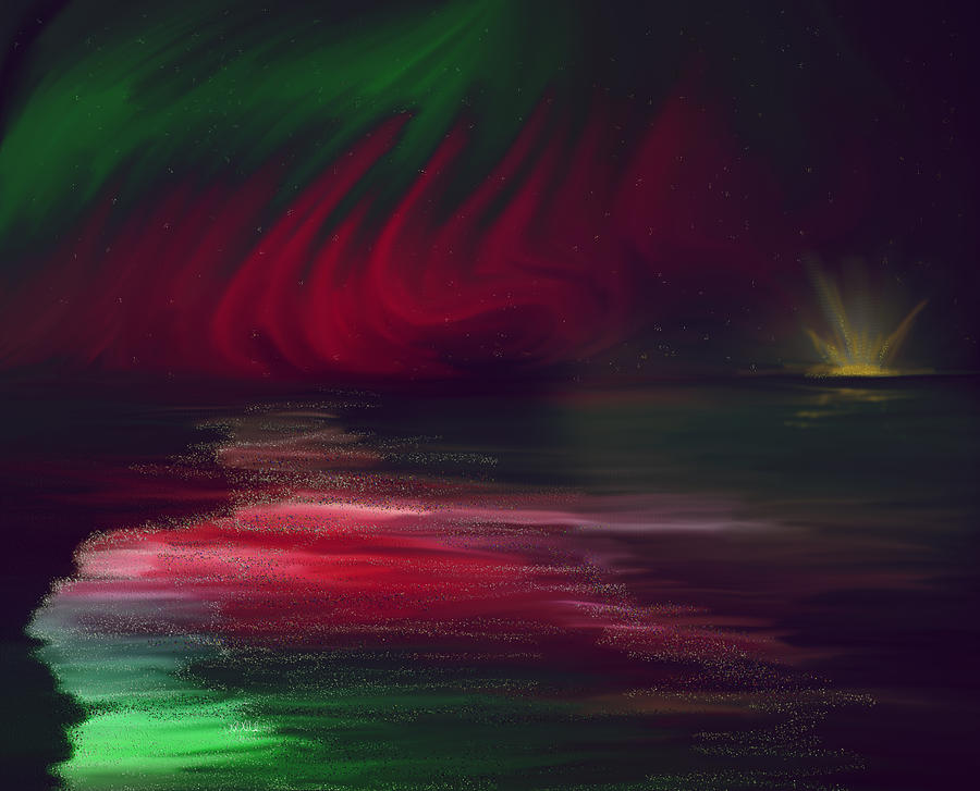 Sparkling Night Of The Aurora Borealis Painting