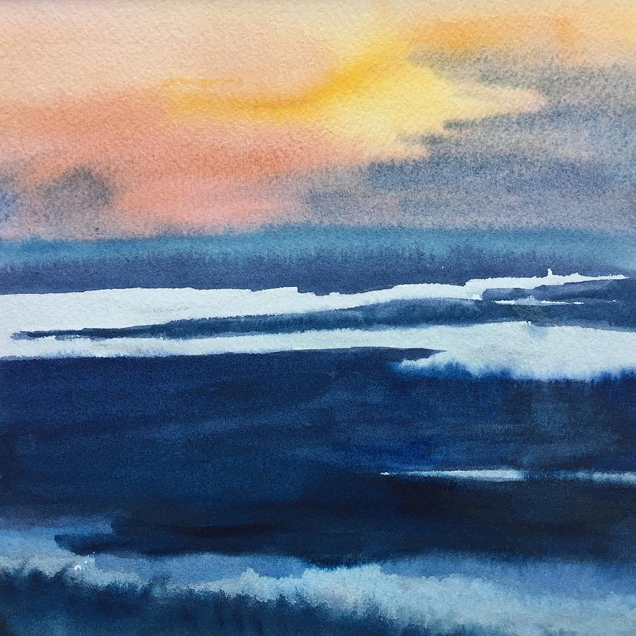 Water Painting - Sparkling Sunset  by Peggy Poppe