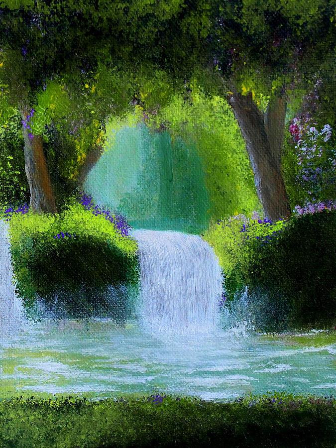 Waterfall Painting - Sparkling Waterfall by Manju Raj