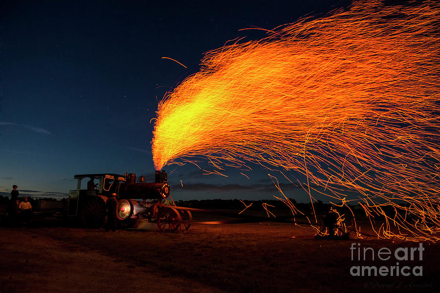 Sparks From Steam Engine Photograph