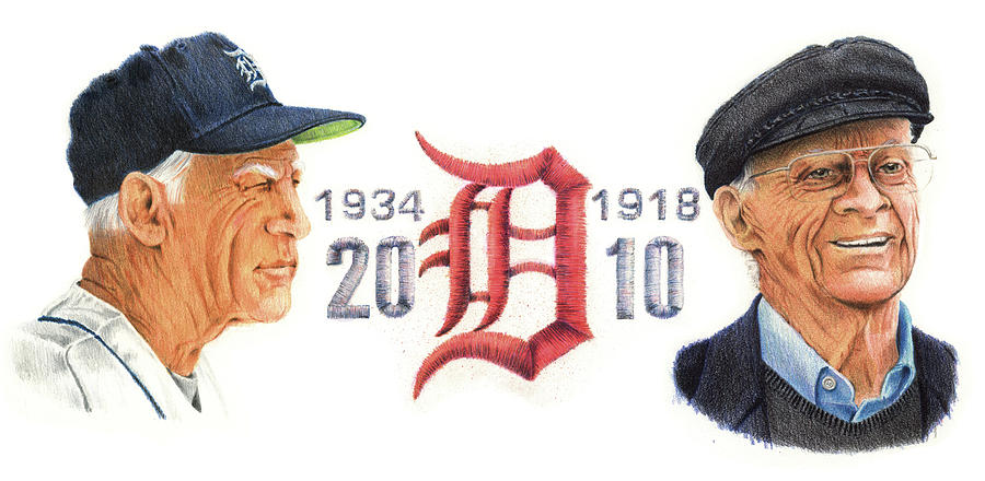 Sparky Anderson Drawing - Sparky And Ernie by Ken Hank