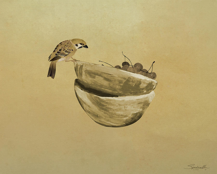 Bird Mixed Media - Sparrow And Bowl Of Cherries by M Spadecaller