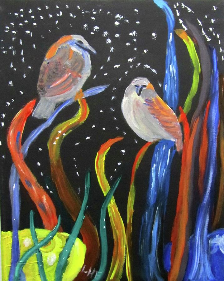 Sparrows inspired by Chihuly by Linda Feinberg