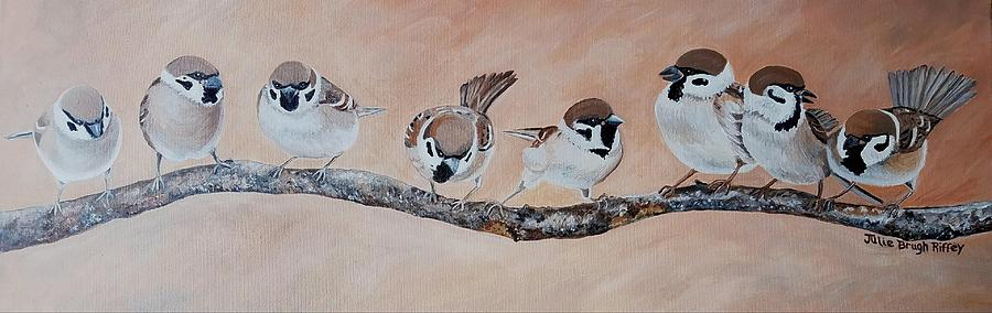 Sparrows On A Branch by Julie Brugh Riffey