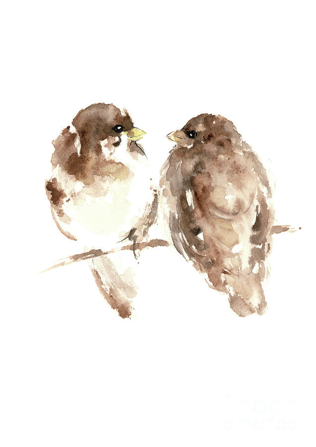 Sparrows watercolor prints animal home decor paintings brown prints painting sparrows watercolor prints animal home decor paintings brown living room wall thecheapjerseys Gallery