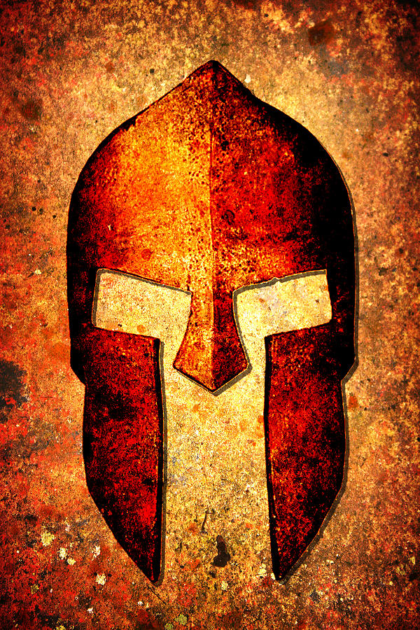 Spartan Helmet On Rust Background With A Color Burn Effect