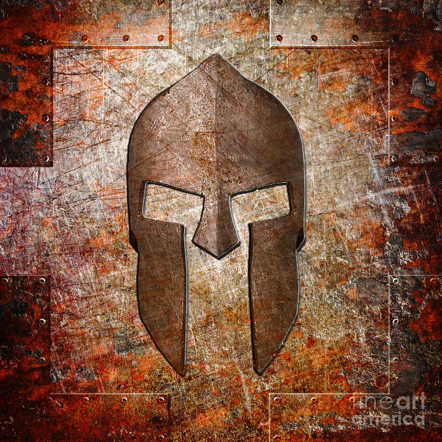 Spartan Helmet on Rusted Riveted Metal Sheet by Fred Ber