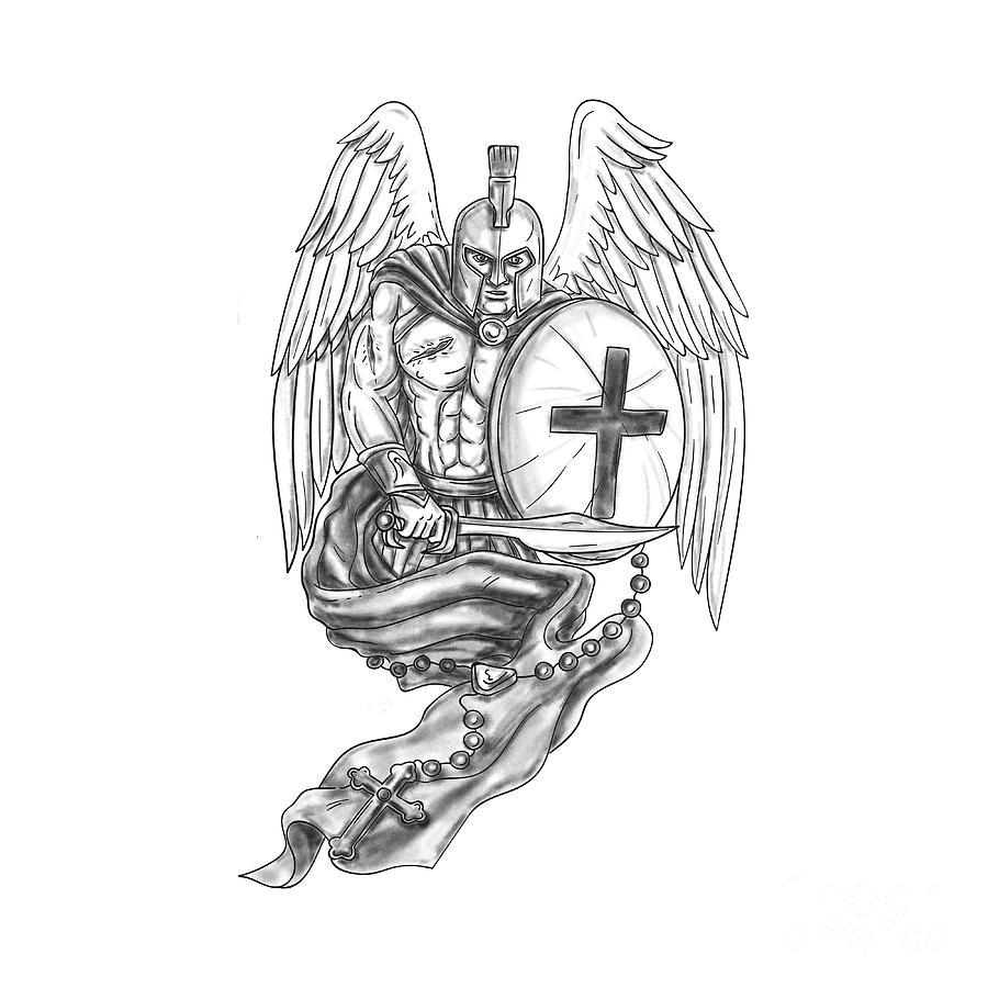 Spartan Warrior Angel Shield Rosary Tattoo Digital Art by ...