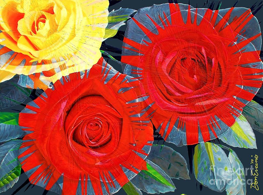 Flowers Painting - Spattered Colors On Roses by Don Evans