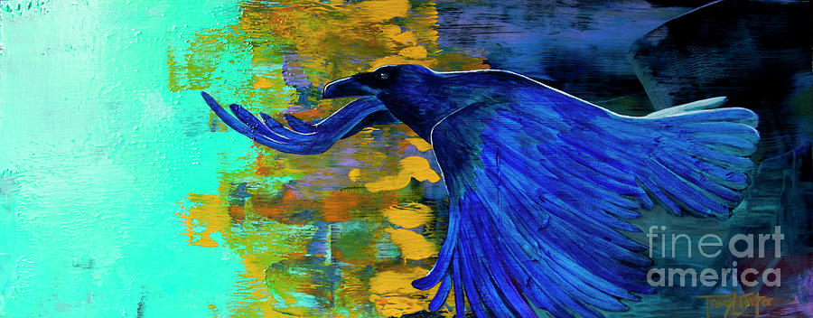 Raven Painting - Speak To Me Of Magic by Tracy L Teeter