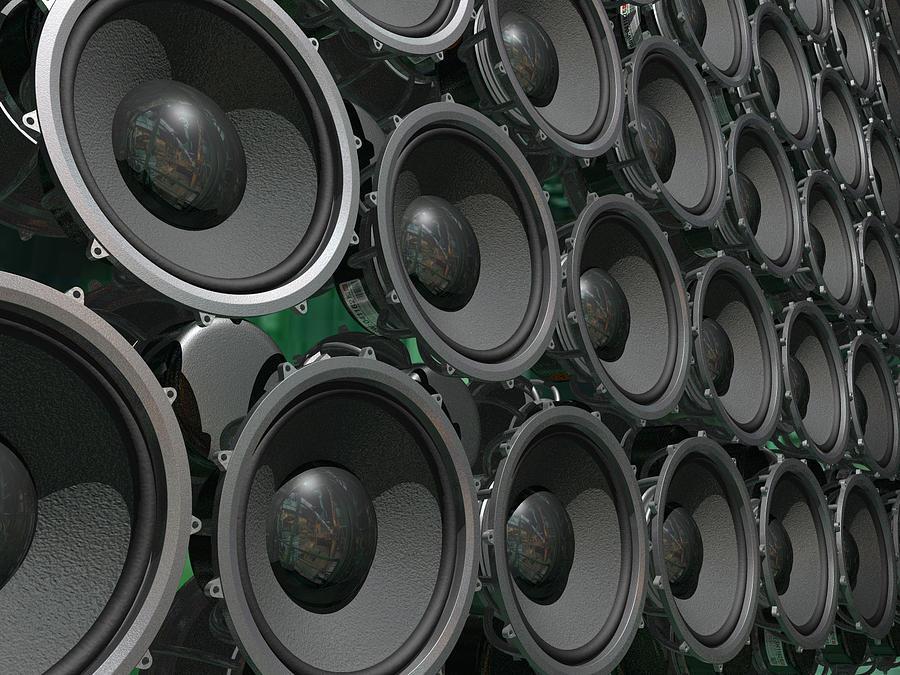 Speakers Digital Art - Speaker Wall Left by Sean Welsby