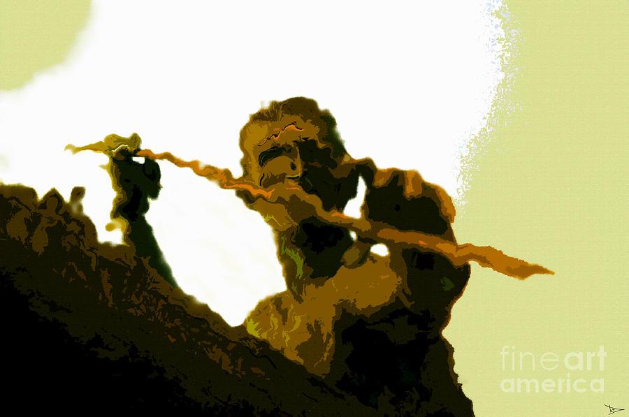 Spearfishing Painting - Spearfishing Man by David Lee Thompson