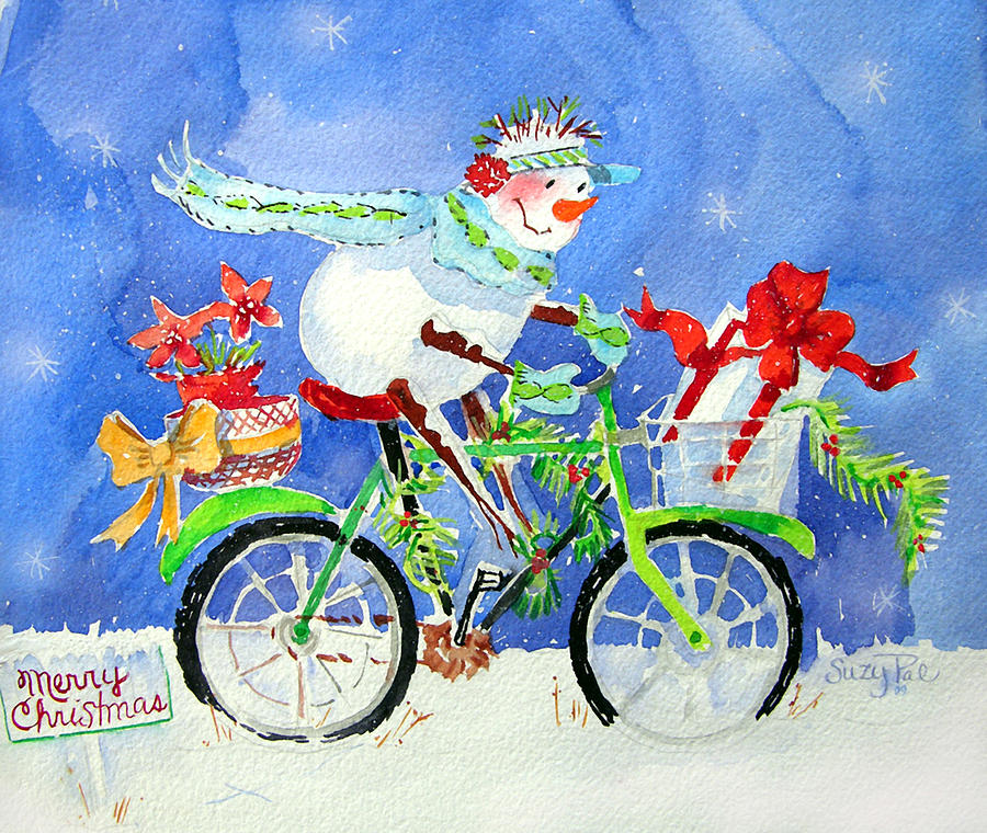 Christmas Cards Painting - Special Delivery by Suzy Pal Powell