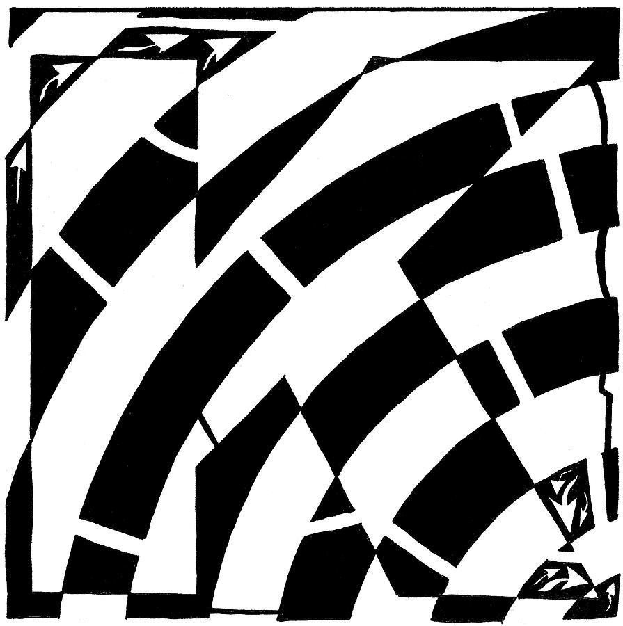 Special K Drawing - Special Maze - K by Yonatan Frimer Maze Artist
