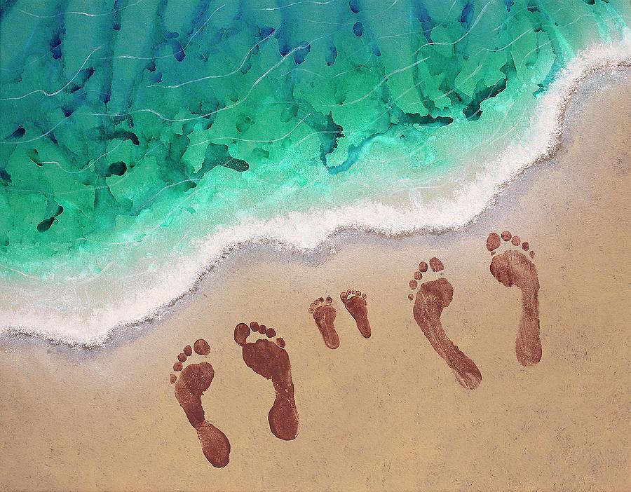 Speck Family Beach Feet Painting By April Kasper