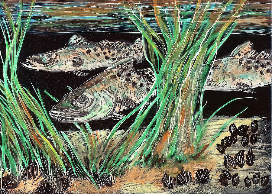 Contemporary Painting - Specks In The Grass by Robert Wolverton Jr