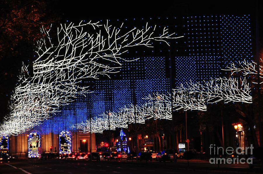 Greeting Photograph - Spectacular Christmas Lighting In Madrid, Spain by Akshay Thaker PhotOvation