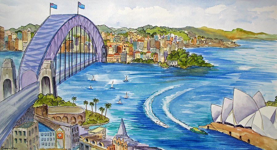 Sydney Painting - Spectacular Sydney Harbor by Bonnie Sue Schwartz