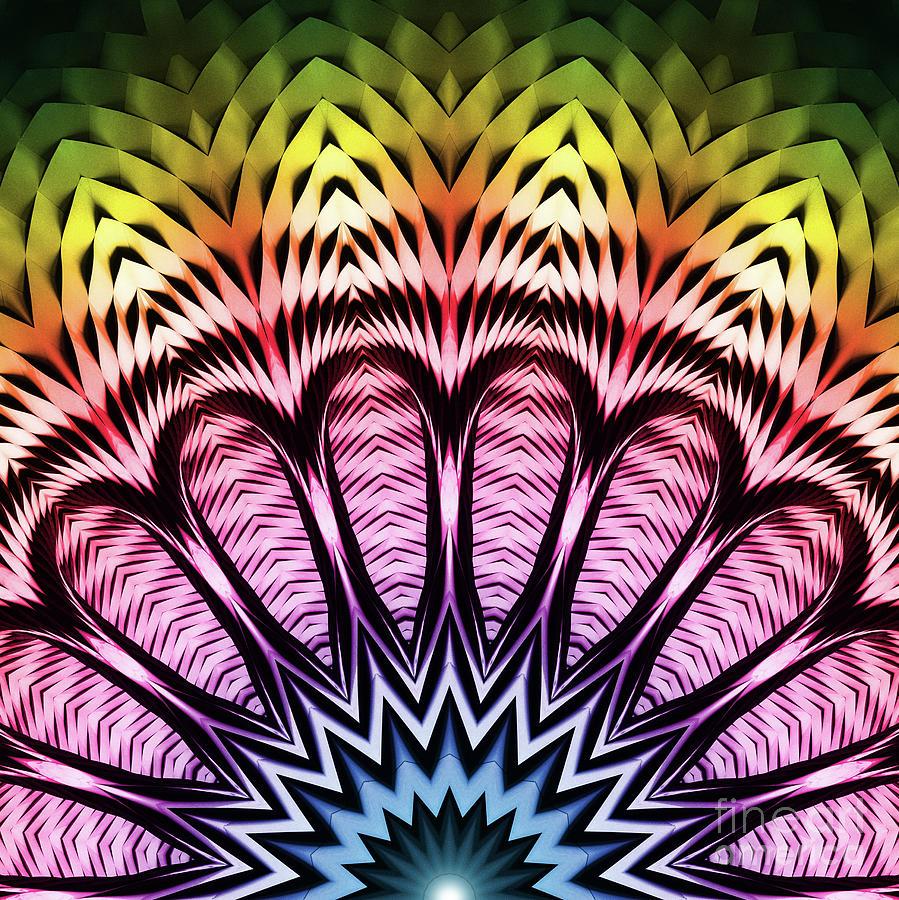 Creative Digital Art - Spectrum Sun Flower by Phil Perkins