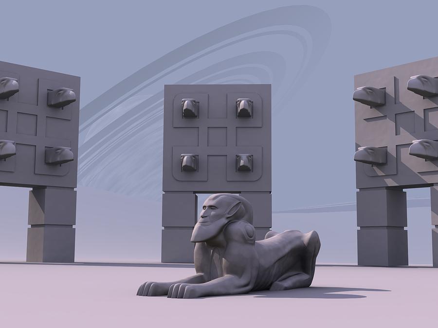 Surreal Digital Art - Sphinx by Mariusz Loszakiewicz