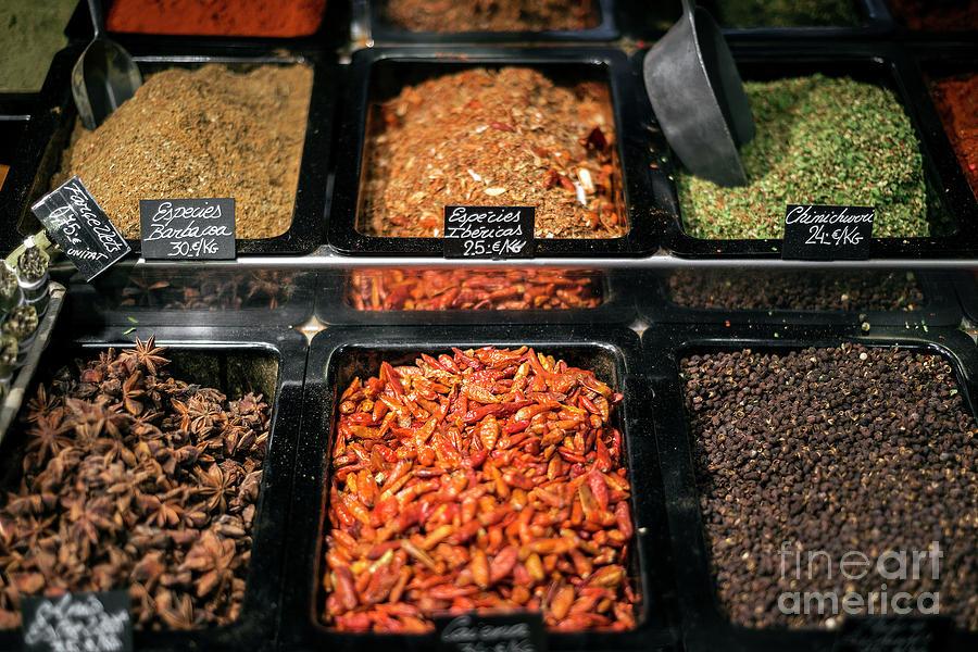 Spice And Herb Stall At La Boqueria Market Barcelona Spain Photograph
