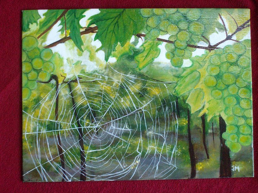 Spring Painting - Spider Web In Spring by Jessica Meredith