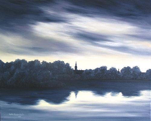 Landscape Painting - Spiegelung    Reflection  by Haike Espenhain
